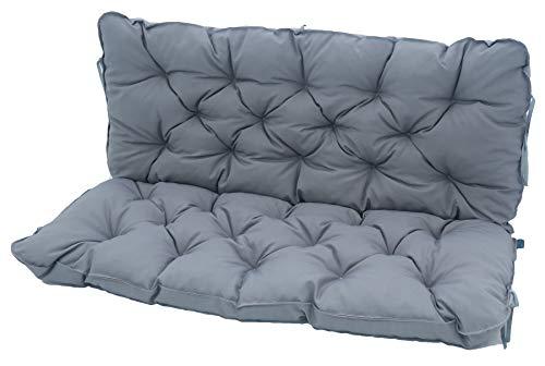 Meerweh Bankauflage mit Rückenteil Sitz und Rückenkissen mit Bänder 120x98 cm Polsterauflage 2-Sitzer Gartenbank grau