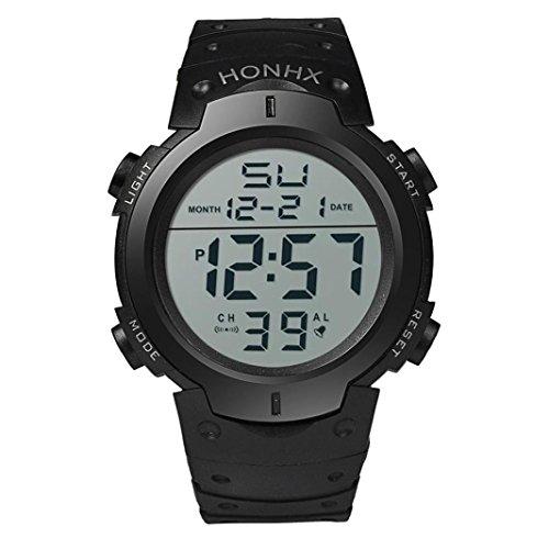 Valentinstag Uhren Dellin Art und Weise Wasserdichte Männer Boy LCD Digital Stoppuhr Datum Gummi Sport Armbanduhr (Schwarz)