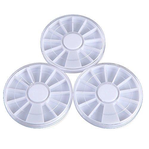 Boite de rangement - TOOGOO(R) 3pcs en plastique manucure strass conteneur pour faux ongles Nail Art Tips gemme organisateurs blanc
