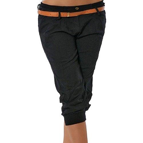 Shujin Damen Sommer Leicht 3/4 Länge Capri Hose Baggyhose Chino Hose Lässig Damenhosen Stoffhose Freizeithose Ohne Gürtel, Schwarz, Medium