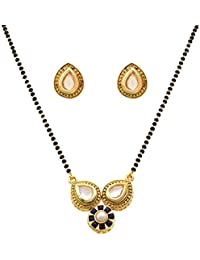 JFL - Stunning Red One Gram Gold Plated Mangalsutra With Kundan Peral & Stone For Women