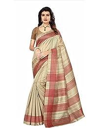 Art Decor Sarees Women's Cream Color Bhagalpuri Silk Printed Saree With Blouse