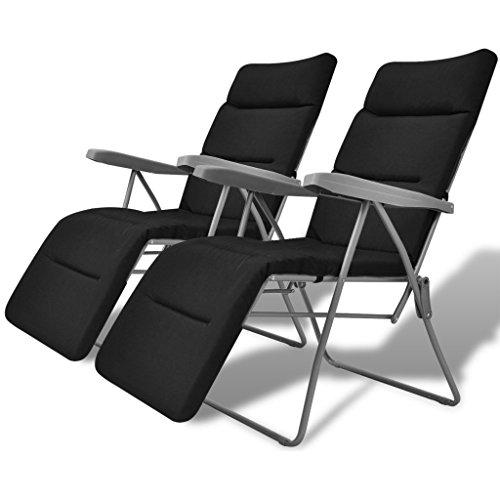 Festnight 2er-Set Gartenstuhl Klappstuhl Gartenliege Klappbar Stühle mit Auflage für Garten Camping Schwarz