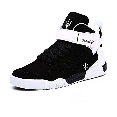 FZUU 2017 Neue Art und Weiseherbst Winter neue Mann Teens hohe Hilfe Hip Hop Mann Straßen Tanz beiläufige Schuh Gezeiten Schuhe Sneaker (43 EU, Schwarz) (Schwarze Neue Leder-high-top)