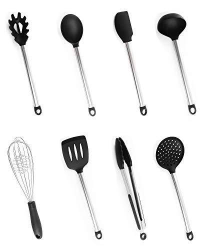 Utensilios Cocina Silicona, Bi-Komfort 8 Pcs Cocina Accesorios; Incluyen Pinzas Cocina, Tenedor Pasta...
