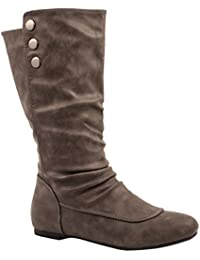 Elara Damen Stiefel | Flache Schlupfstiefel | Nieten Lederoptik