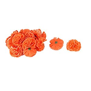 DealMux Fiesta de la Boda Tela Artificial Clavel Cabezas de Flor DIY de la decoración 20pcs de Orange