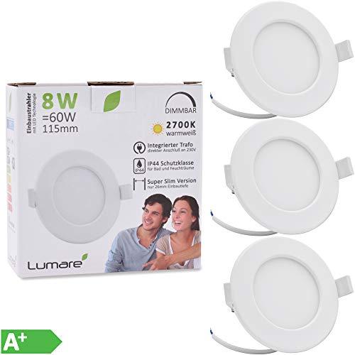 Lumare LED Einbaustrahler Dimmbar 8W 230V IP44 Ultra flach Wohnzimmer, Badezimmer Einbauleuchten weiss 26mm Einbautiefe Mini Slim Decken Spot warmweiß (3er Set)
