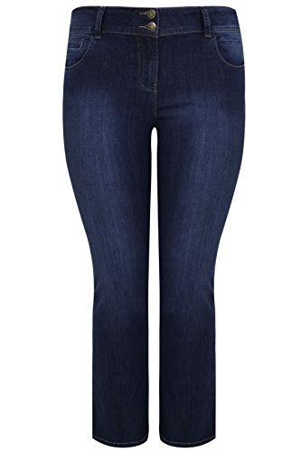 Women's Plus Size Indigo Bootcut Shaper Isla Jeans With Double Button