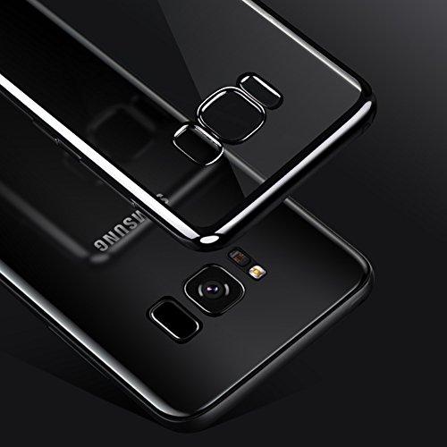 """Samsung Galaxy S8 (5.8"""") Hülle, MSVII® Durchsichtig Weich TPU Silikon Bumper Hülle Schutzhülle Case Und Displayschutzfolie für Samsung Galaxy S8 (5.8"""") - Schwarz JY60069 Schwarz"""