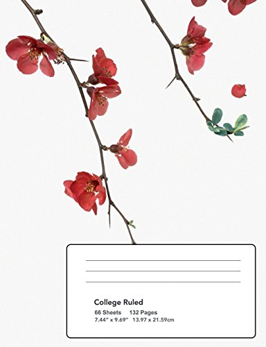 Flowering Red Quince Gone Wild Composition Notebook: College ruled page 7.44x9.69 66 sheet 132 page book for flower lovers, teenage girl or woman?s ... high school, elementary school notetaking (College Gone Girls Wild)