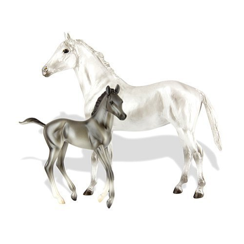 breyer-b62031-classics-112-scale-grey-thoroughbred-horse-and-foal-set-by-breyer