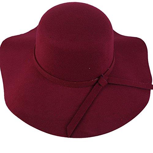 Butterme Morbido delle donne della signora Vintage floppy largo lana Brim feltro Bowler Hat Fedora Floppy Cloche migliore regalo di natale (Vino rosso)