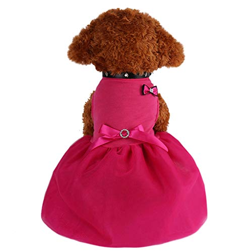TUDUZ-Haustier Kleider Hund Katze Bogen Tutu Kleid Spitze Rock Pet Puppy Hund Prinzessin Kostüm Kleid Kleidung ideal für den Alltag, Draußen, Party, Hochzeit oder Fotos(Medium,Hot Pink)