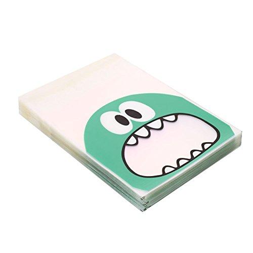YUYDYU 100 Stück Cookie Keks Süßigkeiten Taschen Kleines Monster Selbstklebend Plätzchen-Bäckerei, die Taschen verziert Geschenk-Tasche für das Braten von Geschenken, Grün
