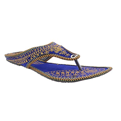 DnF Ethnic Collection Embroidered Blue And Gold Flats/Slippers/Sandals For Girls/Women - Casual Cum Wedding Wear  available at amazon for Rs.239