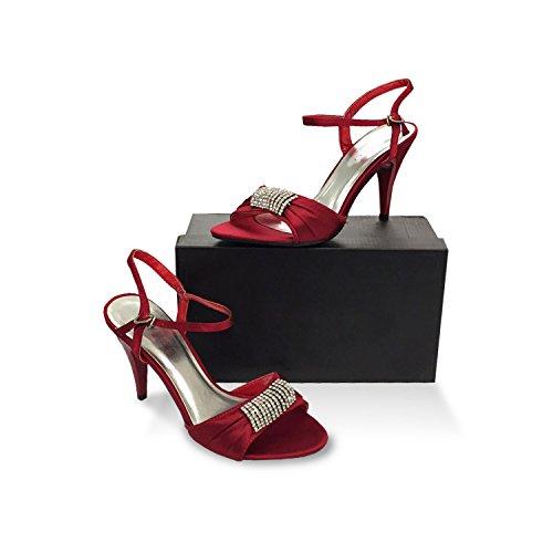 Pumps Sandale Sandalen Stiletto mit Glitzer Strass Riemchenschnürung hoher Absatz sehr elegant Größe 37 maroon