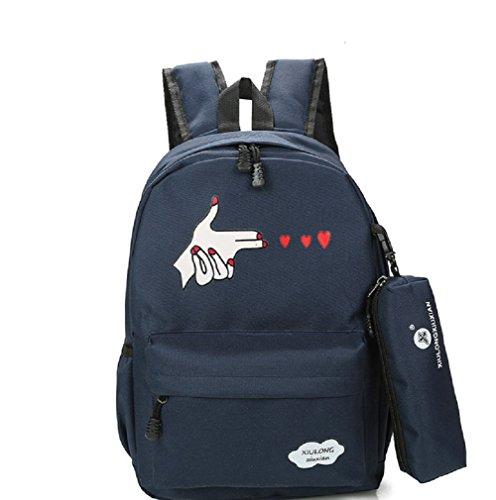 WTUS Damen Lässig Rucksack Mädchen Schulrucksäcke Stylisch Bedruckter Wild Daypacks Tasche Schulranzen Mit Federmäppchen Dunkelblau
