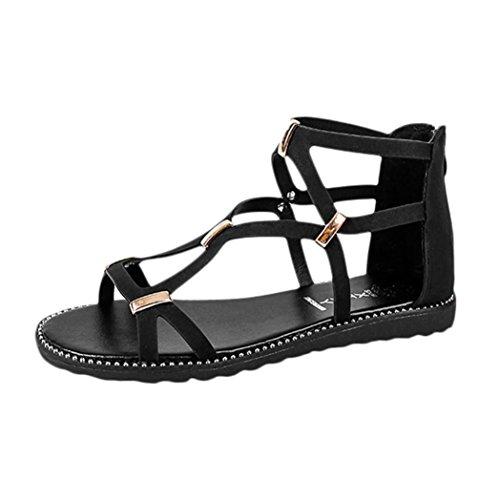 Damen Sandalen 2018 Xinantime Vintage Runde Kappe Reißverschluss Flachen Schnalle Kreuzgurte Rom Sandalen Frauen Schwarz/Grün 35-40 (EU 38, Schwarz) (Reißverschluss Schnalle)
