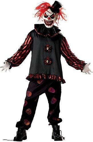 Fancy Me 5 Stück Herren Untoter unheimlich Killer Clown + Maske Halloween Kostüm Kleid Outfit - Schwarz, Large