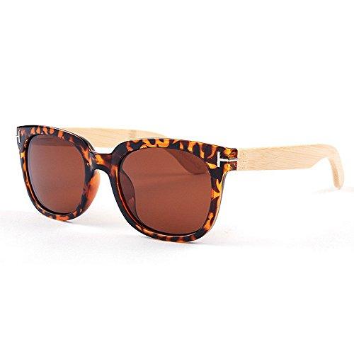 Yiph-Sunglass Sonnenbrillen Mode Katzenaugen Stil Vollformat Bambusbein Unisex Polarisierte Sonnenbrille Farbige UV Schutz Handwerk für Männer Frauen (Farbe : Animal Print)