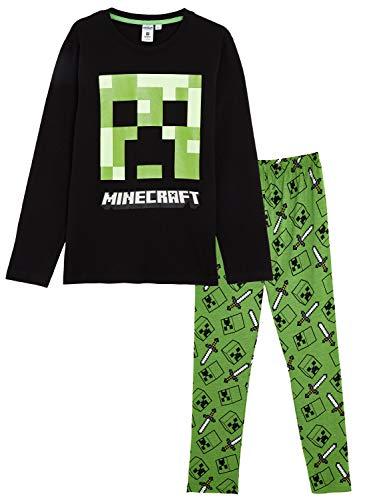 Minecraft Schlafanzug Für Jungen, Kinder Schlafanzug Lange mit Creeper und Grün Spitzhacke Motiv, Pyjama Langarm Kinder, Zweiteiliger Kinder Pyjama, Nachtwäsche Kleinkinder Süß (11/12 Jahre)
