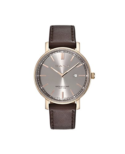 Gant Nashville Men's Quartz Watch with Grey Dial Analogue Display and Brown Leather Strap Gt006006