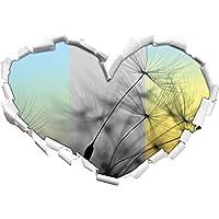 Denti di leone semi pastoso / forma nero bianco cuore nel formato sguardo, parete o adesivo porta 3D: 92x64.5cm, autoadesivi della parete, Stickers murali,