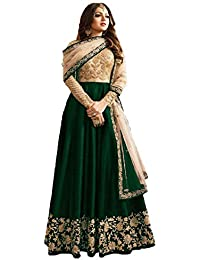 Wommaniya Impex Women's Green Mulberry Silk Long Anarkali Semi-Stitched Salwar Suit