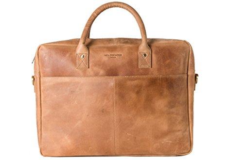 HOLZRICHTER Berlin - Briefcase (M) Premium Aktentasche aus Leder - Handgefertigte Große Laptoptasche - Ledertasche für Herren und Damen - Camel-braun (Geldbörse Laptop-tasche Damen)