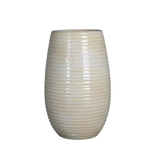 MICA Decorations Deko Vase Ingmar Rillenstruktur - Blumenvase - Vase Hoch (Gebrochenes weiß)