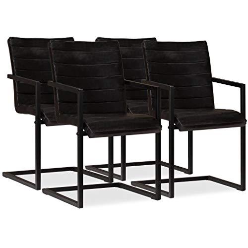 Festnight- 4er Set Echtleder Esszimmerstühle Schwingstuhl | Essstuhl Küchenstuhl Freischwinger Stühle für Esszimmer Küche Wohnzimmer...