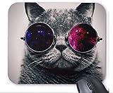 Dufeng Mouse Divertente Gatto con Gli Occhiali Laptop Pad Mat Rettangolare Spessore 5 mm