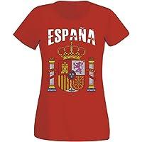Damen T-Shirt Spanien WM 2018 .- Vintage Destroy Rot Wappen D01