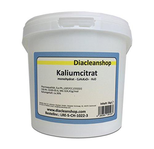 Kaliumcitrat Monohydrat 5kg – Kaliumgehalt 36% – Pharmaqualität mind. 99% – Pulver – E332