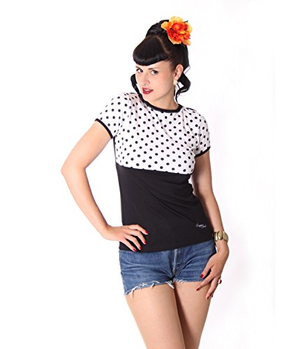 SugarShock Penny Pin Up 50s retro Polka Dots Rockabilly Puffärmel Shirt Rückenfrei