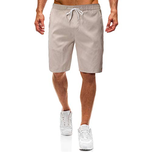 Makefortune  Mens Cotton Casual Shorts Classic Fit Summer New Men Chino Shorts Combat Half Cargo Pants Overalls with Pockets and Drawstring Sperry Top Sider-shorts