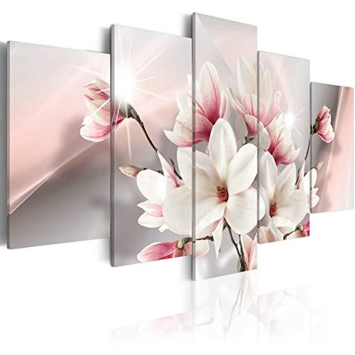 WOKCL Leinwanddrucke 5 Stücke Set Rosa Magnolie Blume Kunstdruck Frameless Leinwand Malerei Wandbild Home, Wählen Sie Farbe Und Größe Kein Rahmen -
