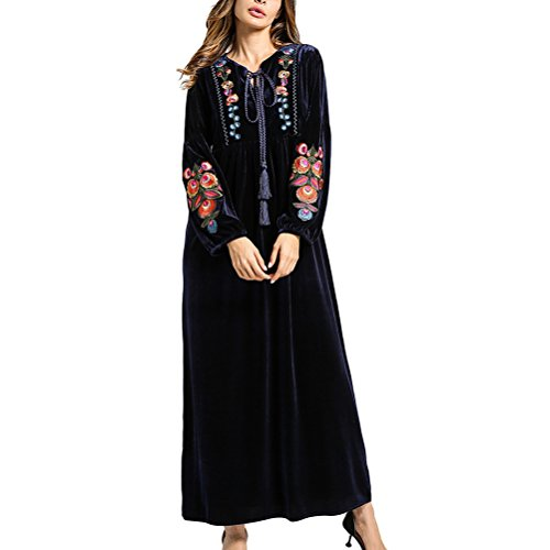 9f3d280d0b4 Zhhlinyuan Mode und Qualität Muslims Womens Style Embroidery Floral Printed  Velvet Dress Gown Robe Dress for