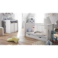 Babyzimmer Kinderzimmer Komplett Set Nandini Set 2 in Weiß matt mit Blenden in Weiß Hochglanz
