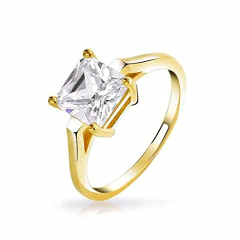 Gold Plated Princess Cut CZ 2ct Solitaire Engagement Ring