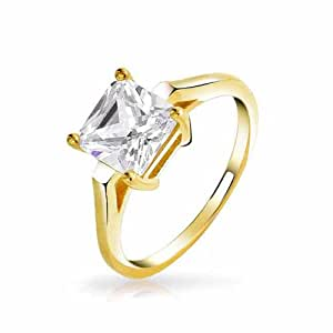 Bling Jewelry Gold Plated 925 Silver Princess Cut CZ 2ct Solitaire Engagement Ring
