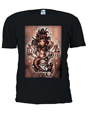 NisabellaLTD Mermaid Ariel Art Paint Black Pearl Novelty Men Women Unisex Top T Shirt-5XL
