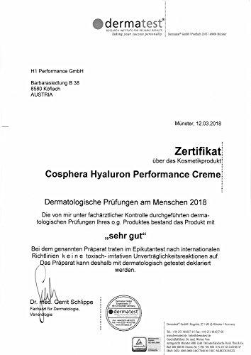 Cosphera - Hyaluron Performance Creme 50 ml - vegane Tages- und Nachtcreme hochdosiert für Gesicht, Hals, Dekolleté, Augen - Anti-Falten Feuchtigkeitsbehandlung für Frauen und Männer