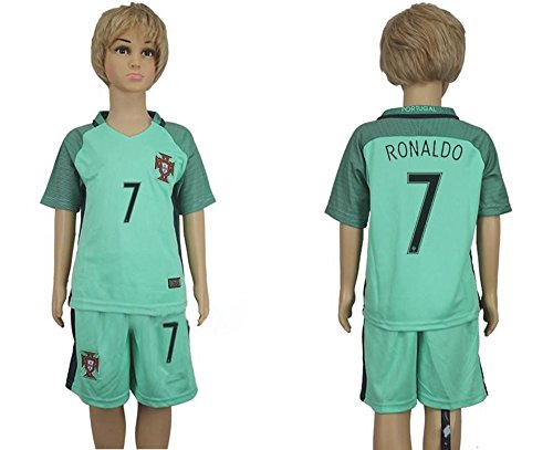 2016 Für Fans 2017 Portugal 7 Cristiano Ronaldo Away für Kinder Kid Jugend Fußball Soccer Jersey in Grün XS - Portugal Jersey Soccer Youth