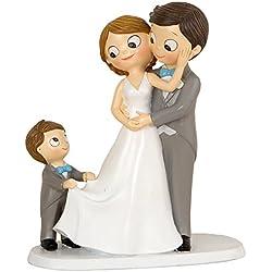 Mopec Figura Pastel Novios E Hijo, Poliresina, Gris, 8,6 x 18,8 x 21,4 cm