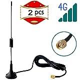 RUNCCI 2pcs Antenna 4G Magnet Mount LTE Antenna 11dBi SMA Connettore maschio 2G 3G 4G GSM Antenna omnidirezionale Wifi Segnale Amplificatore con cavo SMA 3m per router WiFi 4G LTE Hotspot