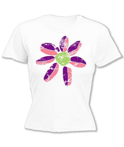 Damen bedruckt T Shirt Daisy Flower Pink Gr. X-Small, Indigo (Indigo Daisy)