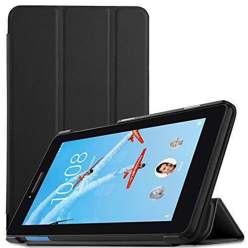 IVSO Hülle für Lenovo TAB E7, Ultra Schlank Slim zubehör Schutzhülle Hochwertiges PU Leder-mit Standfunktion Perfekt Geeignet für Lenovo TAB E7 7 Zoll 2018 Tablet PC, Schwarz