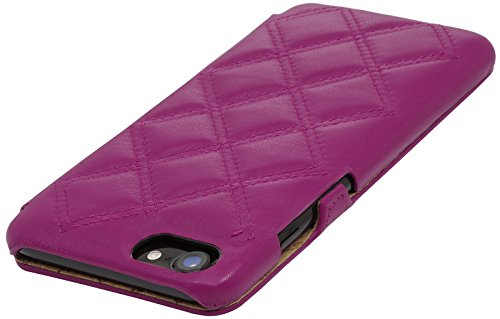 StilGut Book Type Case con clip, custodia in pelle cover per iPhone 7 (4,7) Chiusura a libro Flip-Case in vera pelle, Blu Scuro Nappa Magenta Nappa - Carato